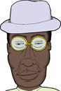 Black man with glasses cartoon of african hat and eyeglasses Stock Photos