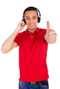 Black man having fun listening to music isolated over a white background Royalty Free Stock Images