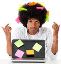 Black man multitasking Stock Images