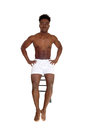 Black man in white underwear. Royalty Free Stock Photo