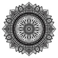 Black mandala indian motif ornate round ornament hand drawn detailed vector illustration Royalty Free Stock Photography