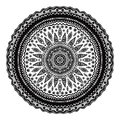 Black mandala, indian motif. Ornate round ornament