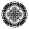 Black mandala, indian motif. Ornate round ornament