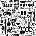 Black Manicure tools hand drawn vector seamless pattern with lettering and grunge make up items Royalty Free Stock Photo