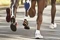 Black marathon runners Royalty Free Stock Photo