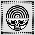 Black mask with radioactive sign sign of ancient civilizations Stock Photos