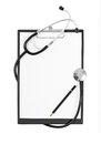 Black medical Clipboard with a Stethoscope Royalty Free Stock Photo