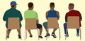 Black Men Viewed from Behind Sitting in Chairs Royalty Free Stock Photo