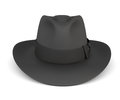 Black mens hat  on white background. Royalty Free Stock Photo