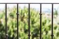Black metal railing closeup of Stock Image