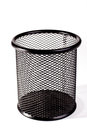 Black metal trash bin on white background Stock Photography