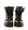 Black military boots on white background Royalty Free Stock Photography