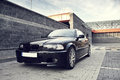 Black modern car bmw e coupe view of a german Stock Photos