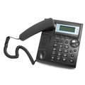 Black modern phone call with cord Royalty Free Stock Photo
