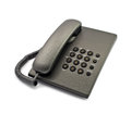 Black modern telephone on the white background Stock Photo