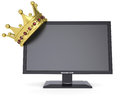 Black monitor and gold crown isolated render on a white background Stock Images