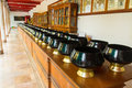Black monk bowl s alms in buddhist religion thailand temple Stock Photography