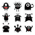 Black monster big set. Cute cartoon scary silhouette character. Baby collection. White background. Isolated. Happy Halloween card. Royalty Free Stock Photo