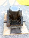 Black mortar cannon inactive war ordnance heavy artillery Royalty Free Stock Photo