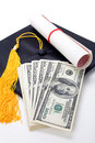Black Mortarboard and dollar Stock Photo
