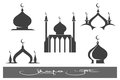 Black mosques icons set mosque emblems vector illustration Stock Image