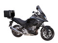 Black motocycle with box on the white background Royalty Free Stock Photo
