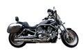 Black motorcycle against white background Royalty Free Stock Photo