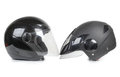 Black motorcycle helmet on a white background Stock Images