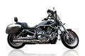 Black motorcycle with reflection against white background Royalty Free Stock Photo