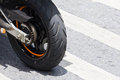 Black Motorcycle wheel details tire Stock Photo