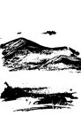 Black mountain range with texture on white. Landscape sketch.