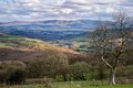 Black mountains looking down the wye valley towards the Stock Photo