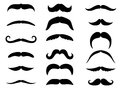 Black moustaches set isolated on white background Royalty Free Stock Images