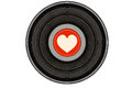 Black music record with heart on red label Royalty Free Stock Photo