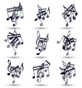 Black musical notes and symbols isolated on white