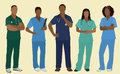 Black nurses or surgeons in scrubs five african american male female wearing Royalty Free Stock Photo