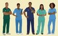 Black nurses or surgeons in scrubs five african american male female wearing Royalty Free Stock Photo