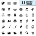 33 black office icons Royalty Free Stock Photo
