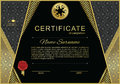 Black official certificate with gold design elements and wafer