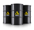 Black oil barrels Royalty Free Stock Photo