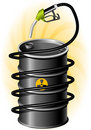 Black Oil Drum and Fuel Pump Stock Photography