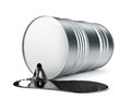 Black oil pouring in pool from barrel open metallic d rendered illustration on white background clipping path included Royalty Free Stock Photos