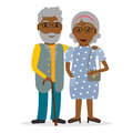 Black old couple in flat style.