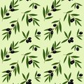 black olives branches with green leaves oil pattern on light green background seamless vector Royalty Free Stock Photo