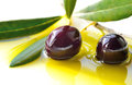 Black olives fresh and olive oil closeup concept of healthy mediterranean diet food background Stock Images