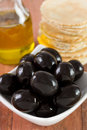 Black olives with oil Stock Photo