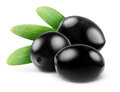Black olives three over white background Stock Photos