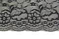Black openwork lace isolated on white background Stock Photos