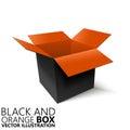 Black and orange open box 3D/ illustration