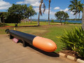 Black and Orange Torpedo Display at Pearl Harbor Stock Photography